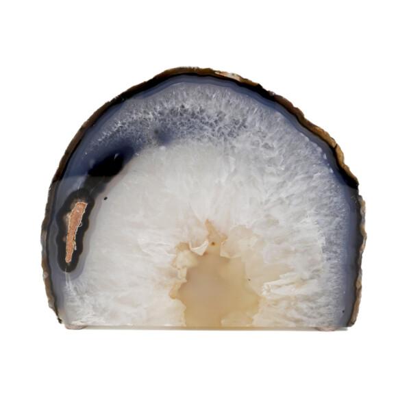 Closeup photo of Agate Cut Base With Cream Middle Blue Stripe