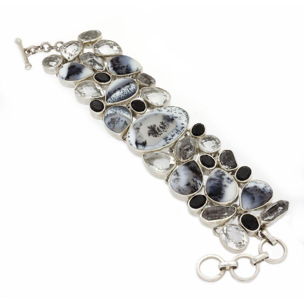 Dendritic Opal Bracelet With Herkimer Diamonds & Black Spinel & White Topaz