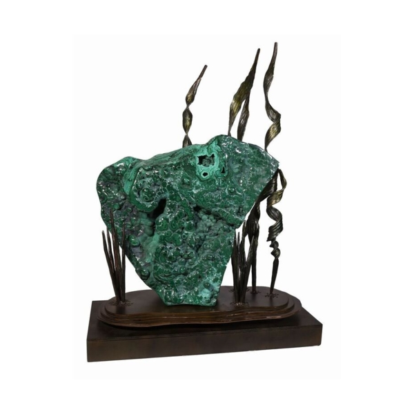 Closeup photo of Polished Congo Malachite On Forged Sculpture Spinning Base