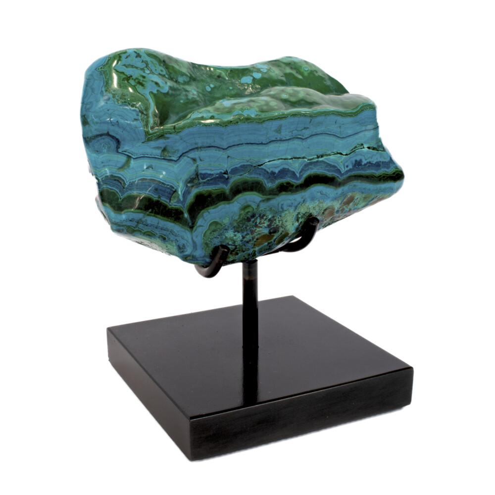 Chrysocolla & Malachite On Custom Stand -Horizonal Banding