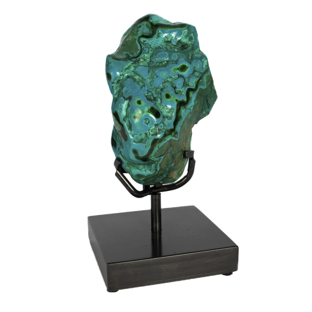Chrysocolla & Malachite On Custom Stand -Freeform Polished