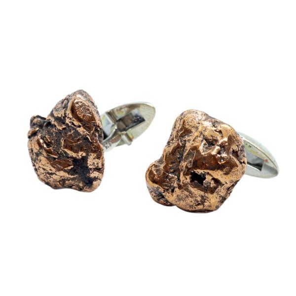 Closeup photo of Copper Nugget Cufflinks