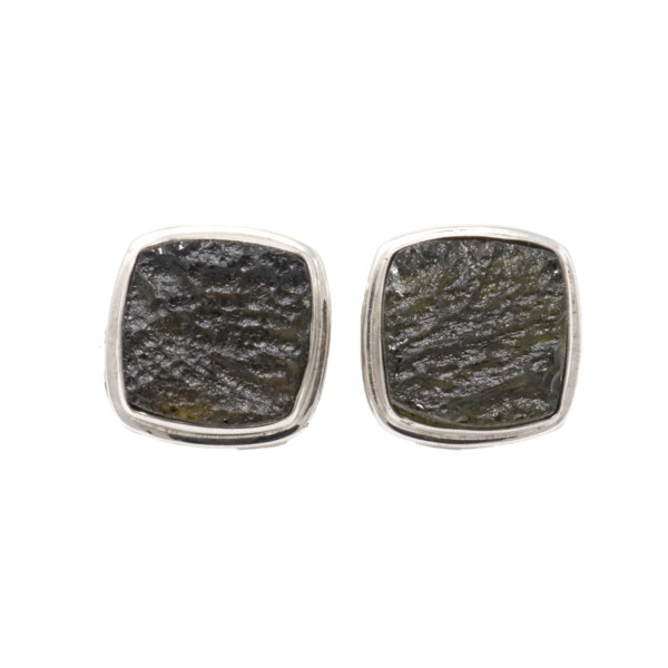 Closeup photo of Moldavite Cufflinks