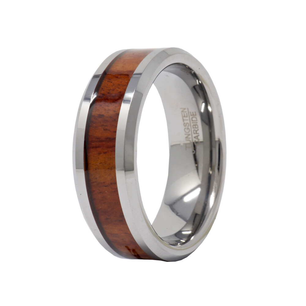 Tungsten Ring 8mm High Polished With Mahogany Wood Center Size 14