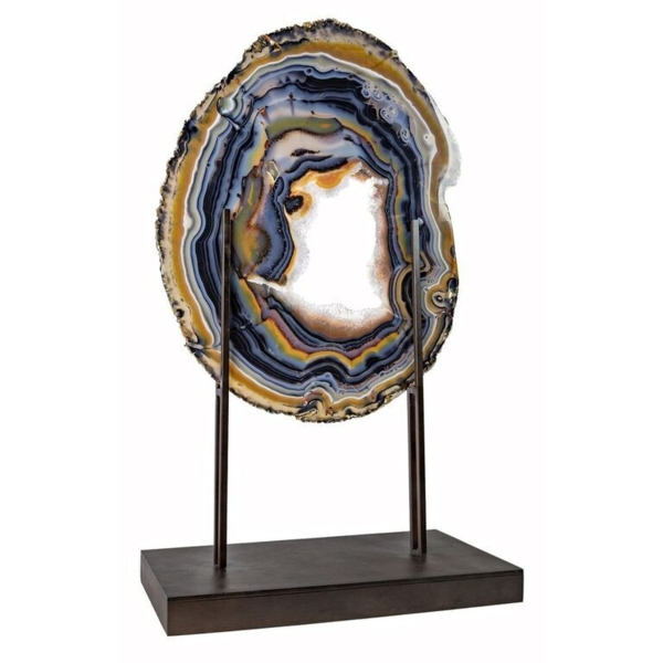 Closeup photo of Agate Slice On Custom H-style Fixed Metal Stand