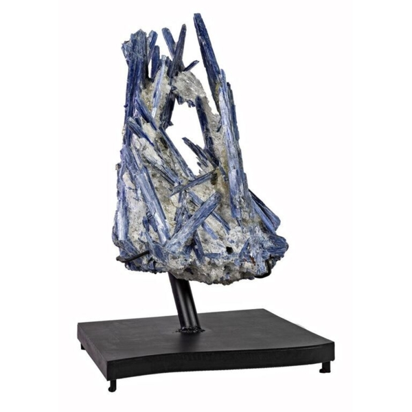 Closeup photo of Kyanite Crystal Cluster On Quartz On Fitted Stand