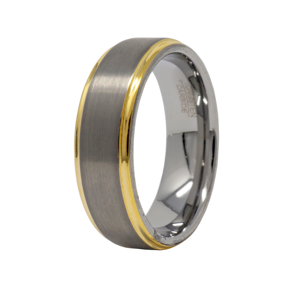 Tungsten Ring With Gold Step 8mm Size 10.5
