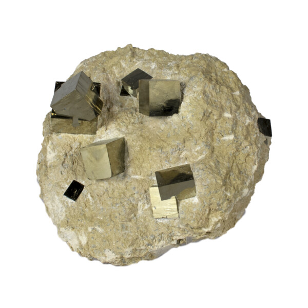 Closeup photo of Cubic Pyrite Double Bonded In Matrix