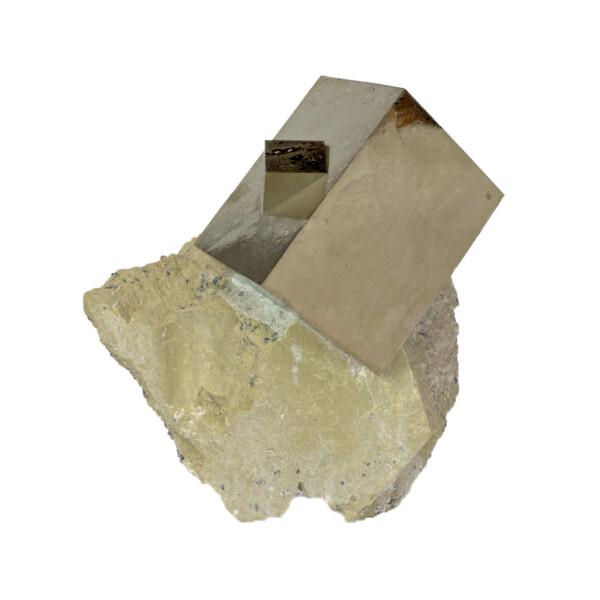 Closeup photo of Cubic Pyrite Rectangular Bonded Crystal