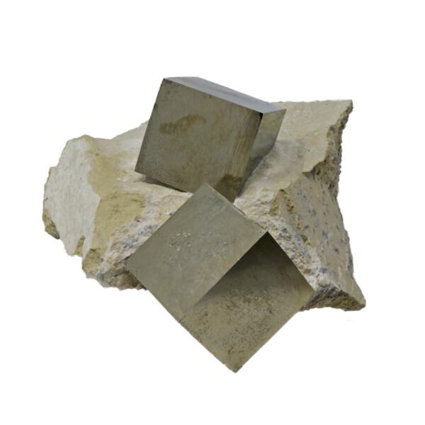 Closeup photo of Cubic Pyrite Single Crystals In Matrix