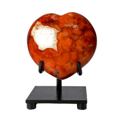 Closeup photo of Carnelian Heart With Quartz Inclusion On Custom Stand