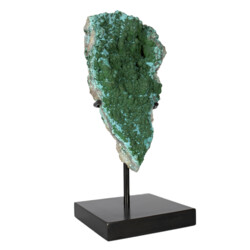 Closeup photo of Chrysocolla Malachite Druze Specimen On Custom Stand