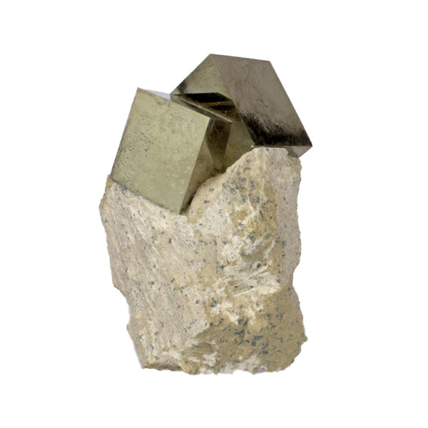 Closeup photo of Cubic Pyrite Bonded In Matrix