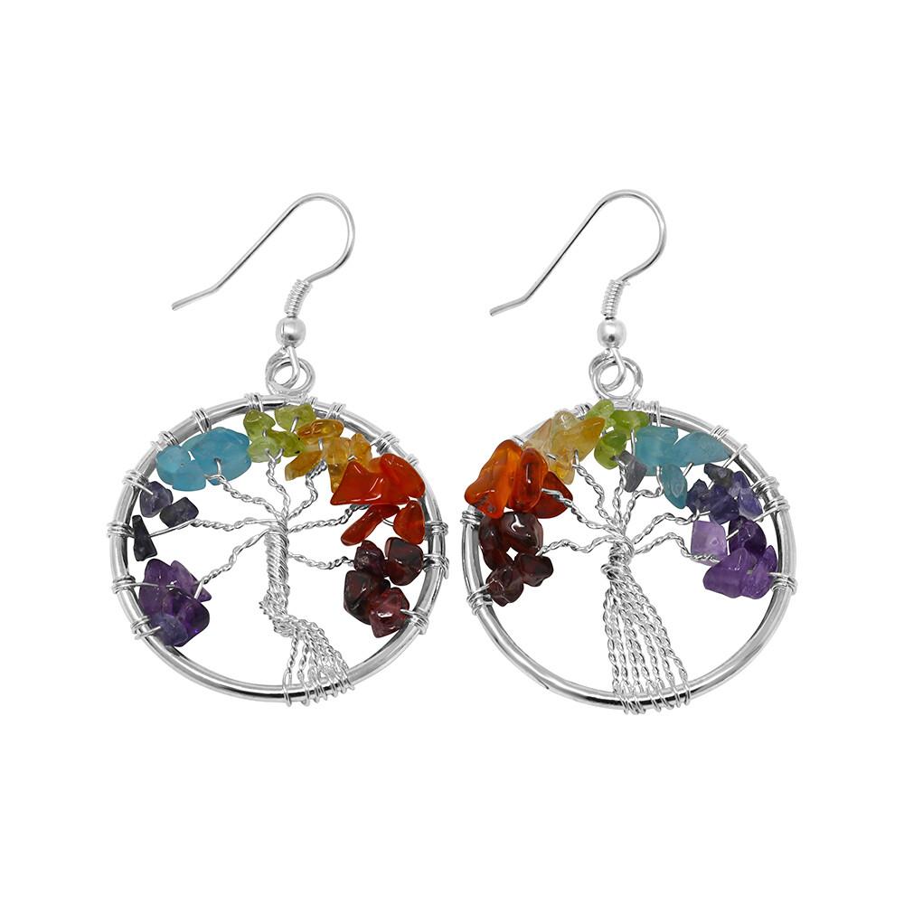 7 Chakra Tree Of Life Earrings