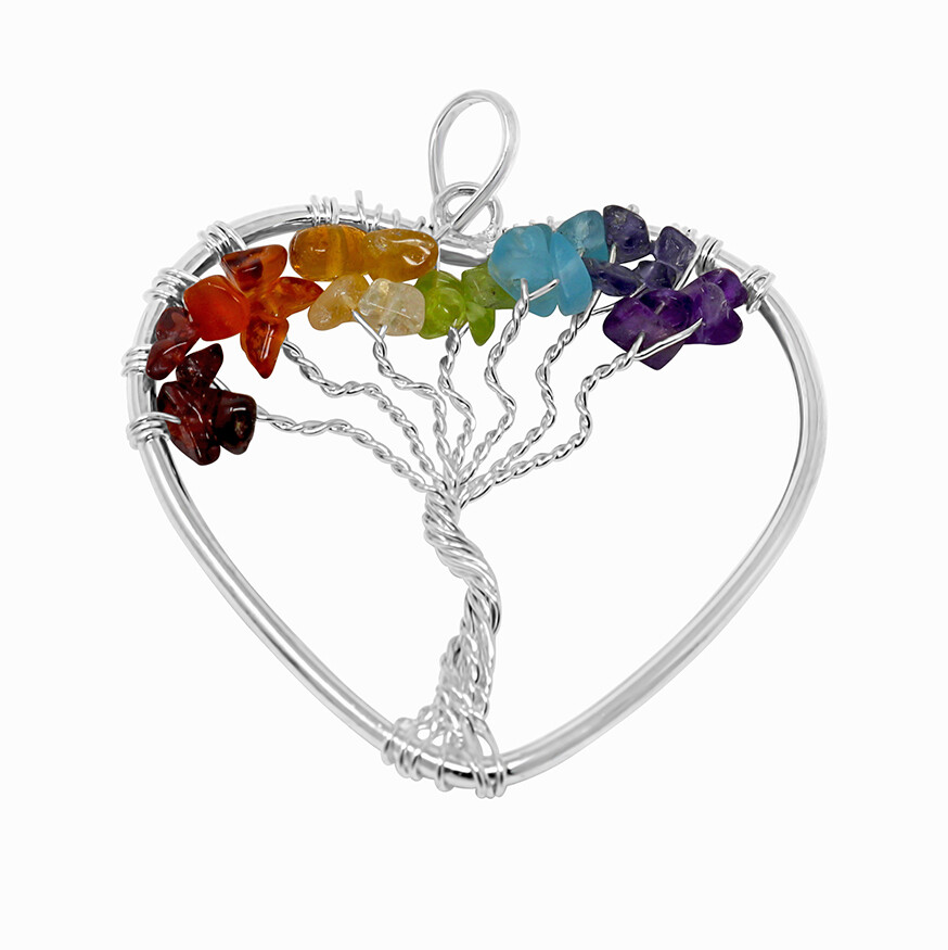 7 Chakra Tree Of Life Heart Pendant