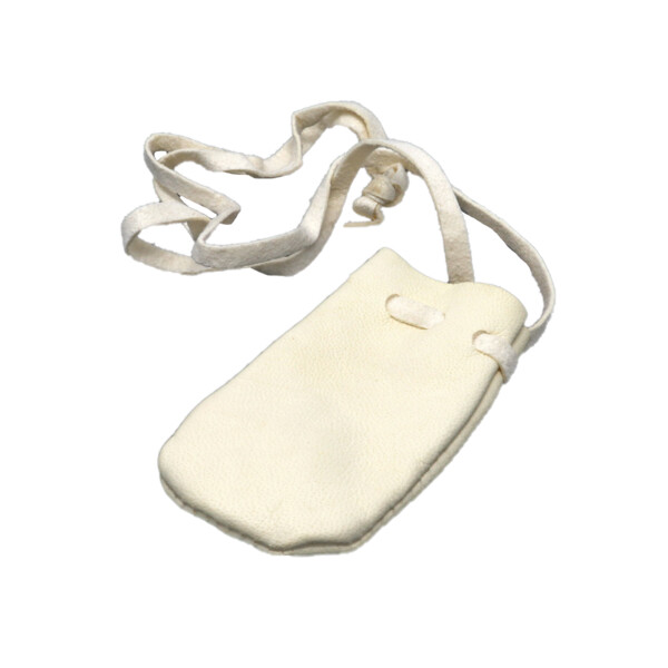 Closeup photo of White Leather Pouch