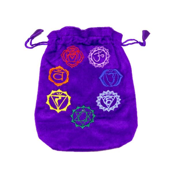 Closeup photo of 7 Chakra Purple Pouch