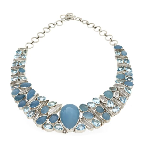Closeup photo of Aquamarine Necklace -Collar With Quartz Crystals & Blue Topaz
