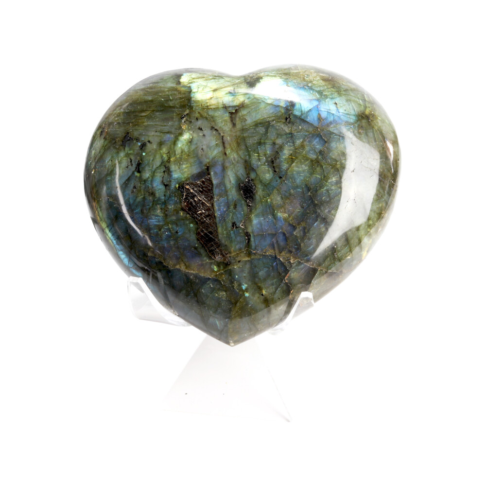 Labradorite Heart In Cluster Stand