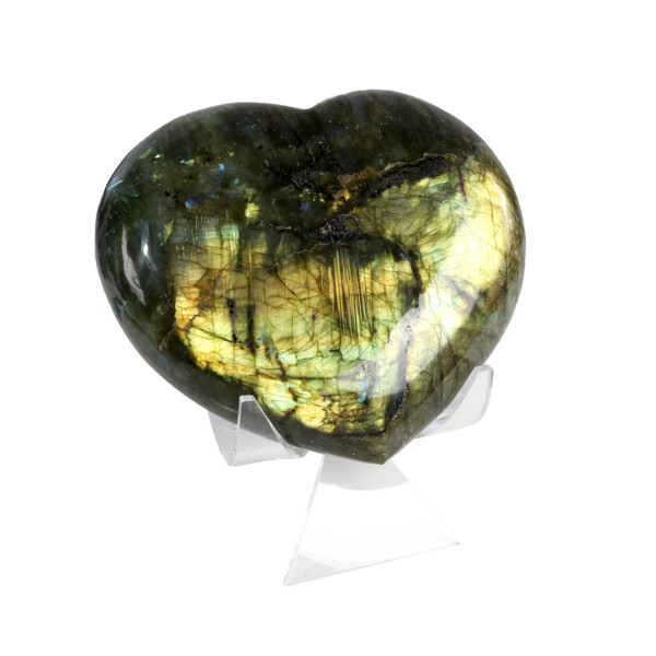 Closeup photo of Labradorite Heart In Cluster Stand