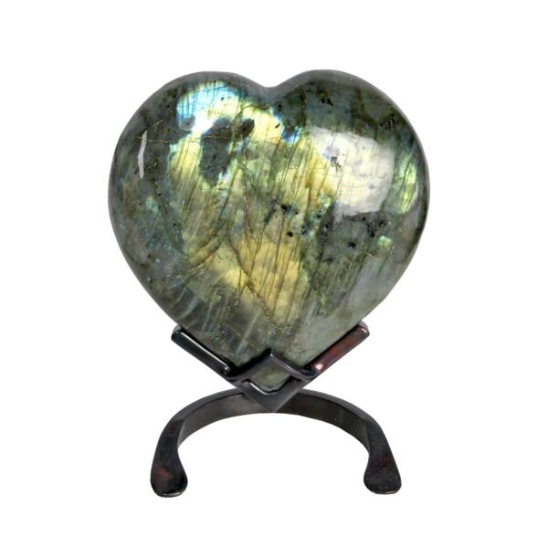 Closeup photo of Labradorite Heart In Custom Stand