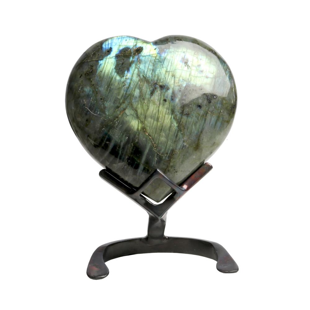Labradorite Heart In Custom Stand