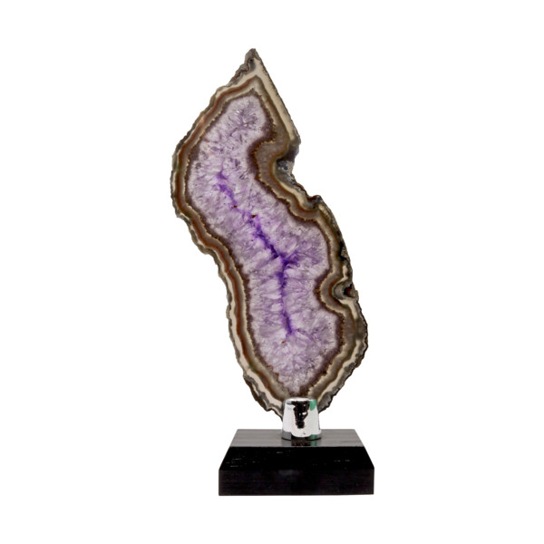 Closeup photo of Agate Slice -Amethyst With Greens & Browns