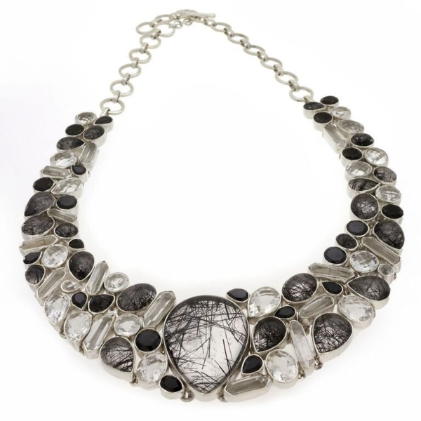 Closeup photo of Black Tourmalated Quartz Necklace -Collar With Black Spinel/quartz Faceted & Crystals