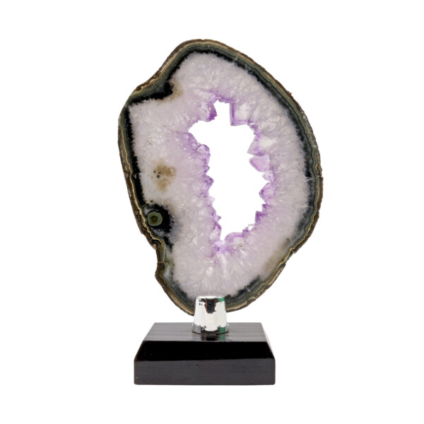 Closeup photo of Agate Slice -Amethyst Quartz With Void Center & Green Exterior