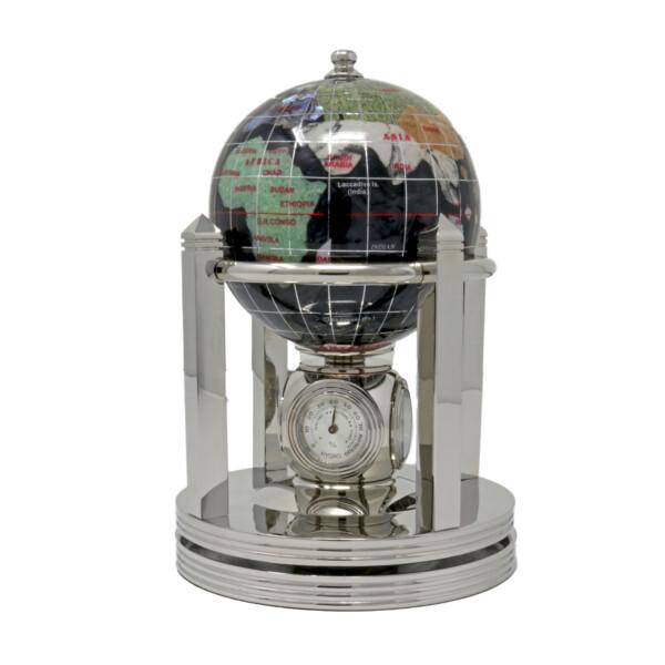 "Closeup photo of Inlay Gemstone Globe 3"" Black Opalite Ocean On Rotating Base"