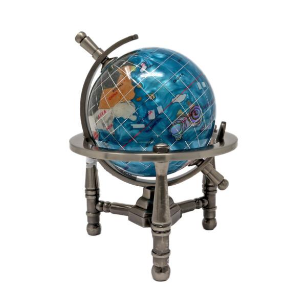 "Closeup photo of 3"" Inlay Globe -Bahama Blue Opalite 3 Legged"