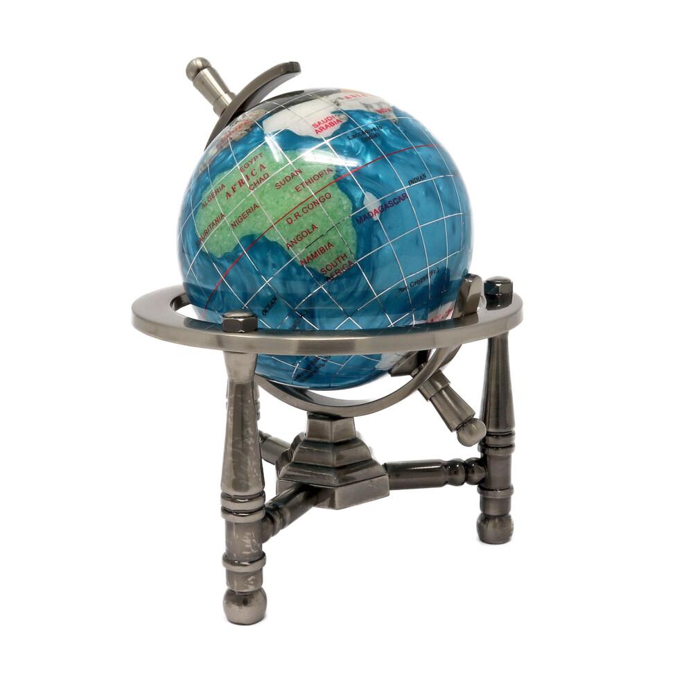 "3"" Inlay Globe -Bahama Blue Opalite 3 Legged"