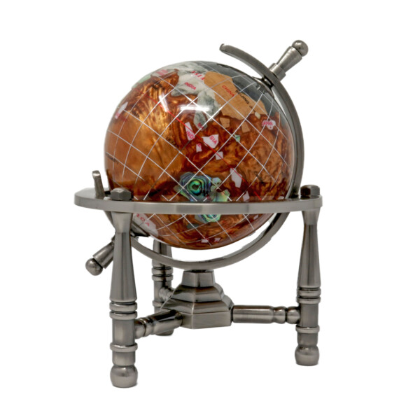 "Closeup photo of 3"" Inlay Globe - Copper Opalite 3 Legged"
