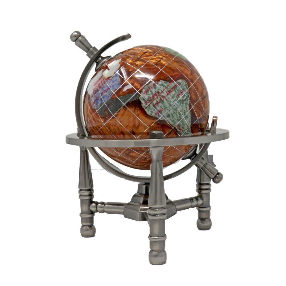 """3"""" Inlay Globe - Copper Opalite 3 Legged"""