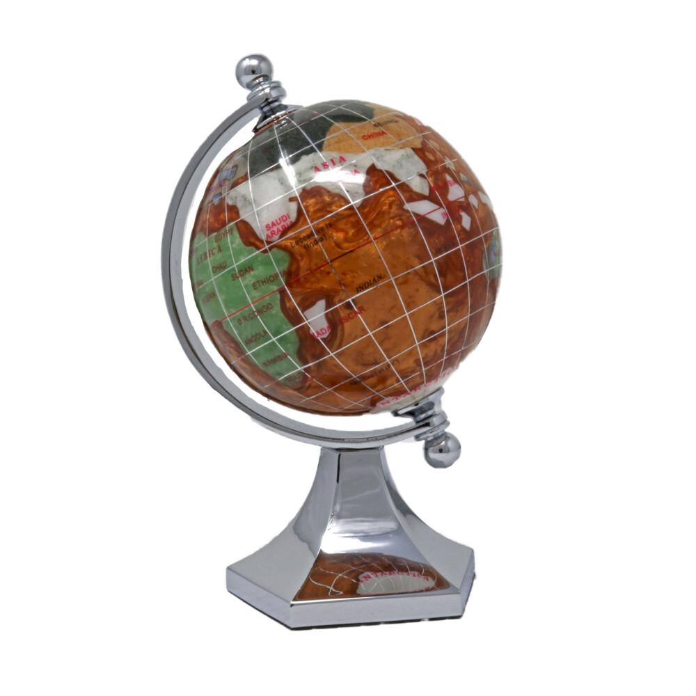 Inlay Gemstone Globe 3'' Copper Ocean