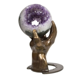 Closeup photo of Amethyst Tunnel Sphere Of Crystals With Custom Hand Metal Base