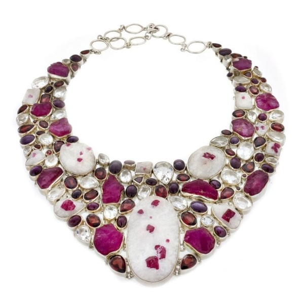 Closeup photo of Ruby Collar Necklace - Gems In Quartz Matrix with White Topaz (Set)