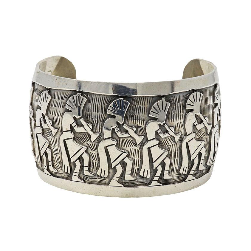 Sterling Silver Cuff With 10 Kokopelli