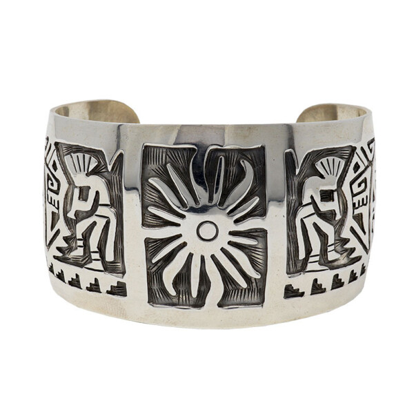 Closeup photo of Sterling Silver Sun & Kokopelli Cuff