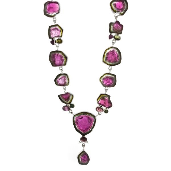 Closeup photo of Watermelon Tourmaline Necklace Polished Slice & Cabochon