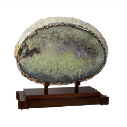 Closeup photo of Agate Slice with Pink Tone Druze Vugs On Custom Stand -2 Step Copper Patina