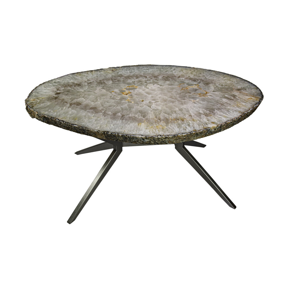 Agate Coffee Table On X Design Base With Quartz And Iron Agate Druze Pockets