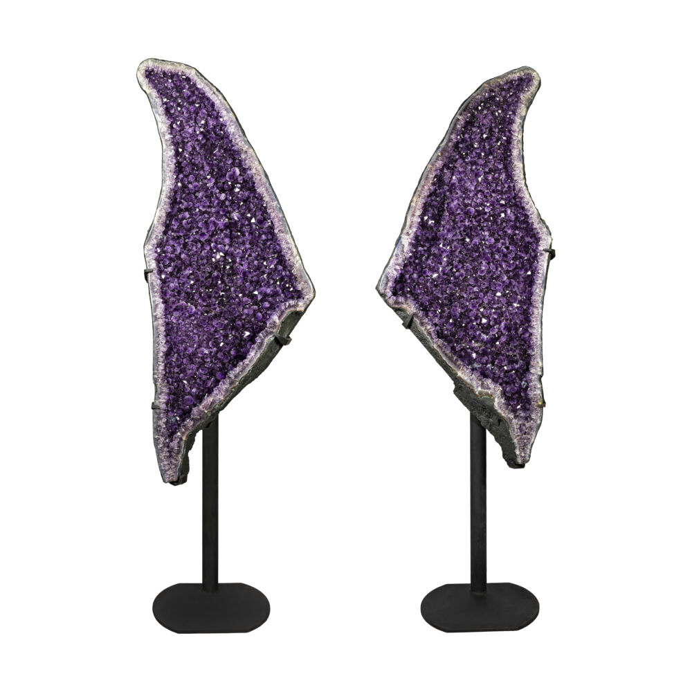 Amethyst Geode Pair On Fitted Separate Stands