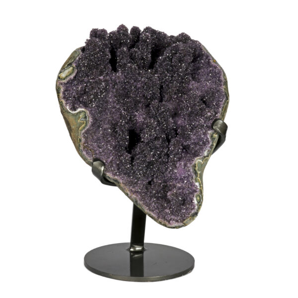 Closeup photo of Amethyst Druze Geode On Custom Fitted Stand with Full Stalactites
