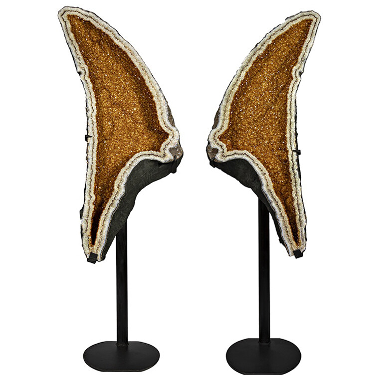 Citrine Geode Cathedral Pair On Separate Stands