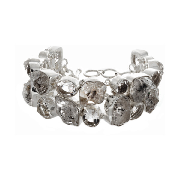 Closeup photo of Herkimer Diamond Bracelet With Faceted Quartz - Two Rows