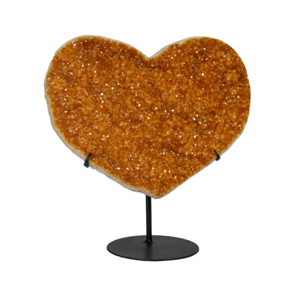 Closeup photo of Citrine Druze Heart On Fitted Stand