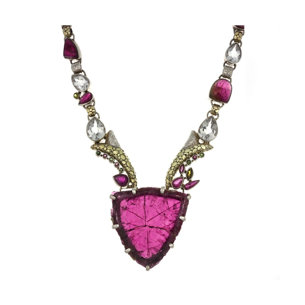 Pink Tourmaline Necklace With Cross Section Crystal Slice