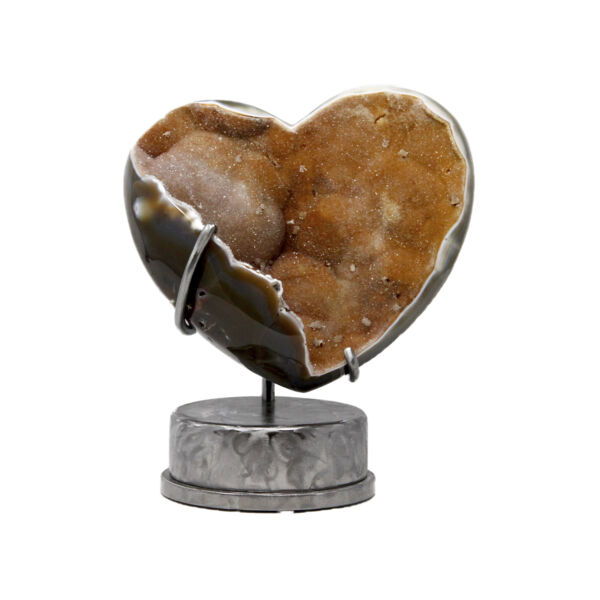 Closeup photo of Peach Druze Heart In Custom Stand