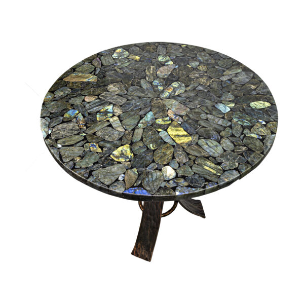 Closeup photo of Labradorite Mosaic Round Table with Hand Forged Tri-leg Base